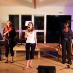 Jonzac, le 9 août : Jean-Luc (piano), Myriam, Adrienne et Tuintim (claviers)