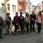 Dans les rues du vieux Fribourg : Wolfgang (notre correspondant acdpa à Fribourg), Jean-Luc, Milène, Adrienne, Juliette, Simon et Chisato