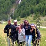 Ceillac, la cascade, avec Alexandre, Tuintim, Milène, Bénédicte et Arthur